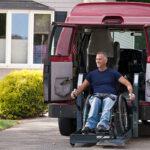 man on wheelchair van lift